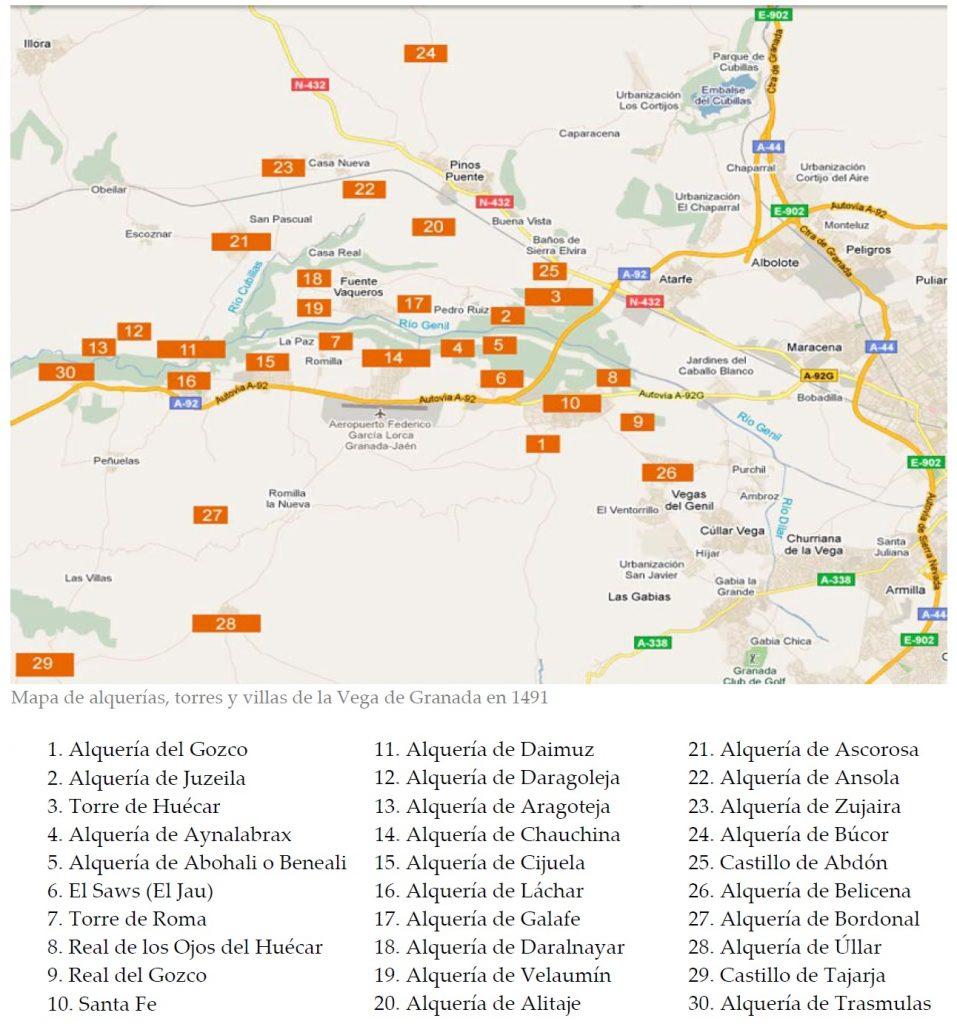 Figura 3. Mapa de alquerías, torres y villas de la Vega de Granada en 1491. Archivo Municipal de Santa Fe (2011)