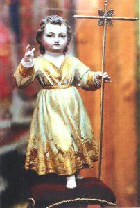 Niño Jesús, primer titular de la Hermandad Sacramental de Santa Fe. Imagen de madera tallada y policromada del siglo XVIII.