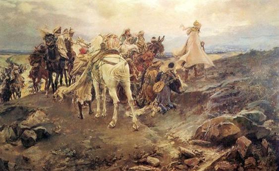 """Figura 4. Boabdil se despide de Granada desde el """"Suspiro del Moro"""". (http://www.grandesbatallas.es/batalla%20de%20granada.html)"""