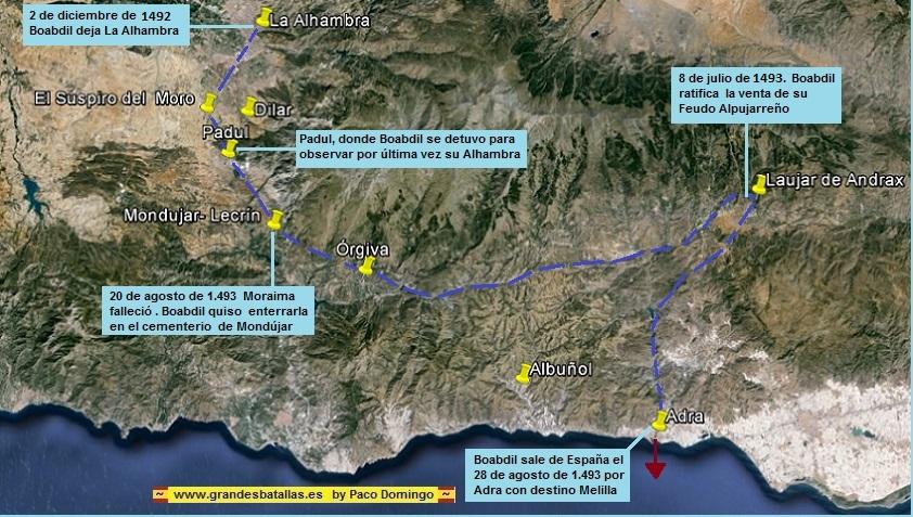 Figura 2. Recorrido de Boabdil por el Reino de Granada tras la toma del mismo por los Reyes Católicos. (http://www.grandesbatallas.es/batalla%20de%20granada.html)