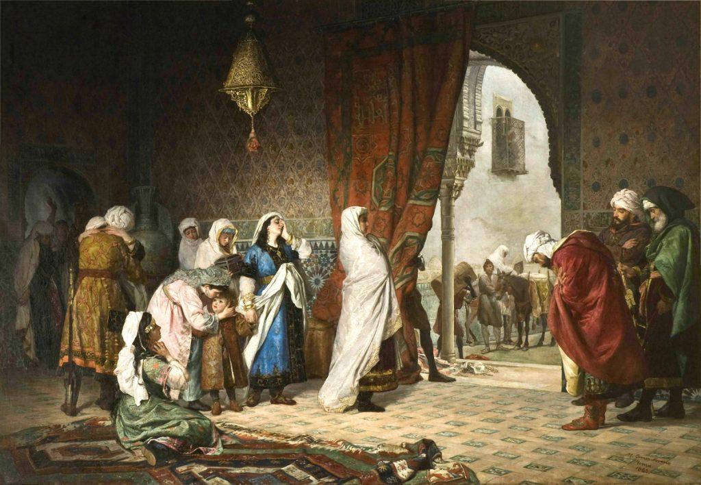 Figura 2. Salida de la familia de Boabdil de la Alhambra (1880), obra de Manuel Gómez-Moreno González. (https://es.wikipedia.org/wiki/Aixa#/media/File:Salida_de_la_familia_de_Boabdil_de_la_Alhambra.jpg)