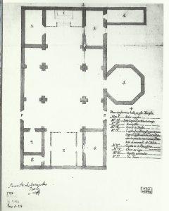 Plano de la primitiva iglesia de Fernández Bravo (1766) Archivo Histórico Nacional. Guillén Marcos E. (2003)