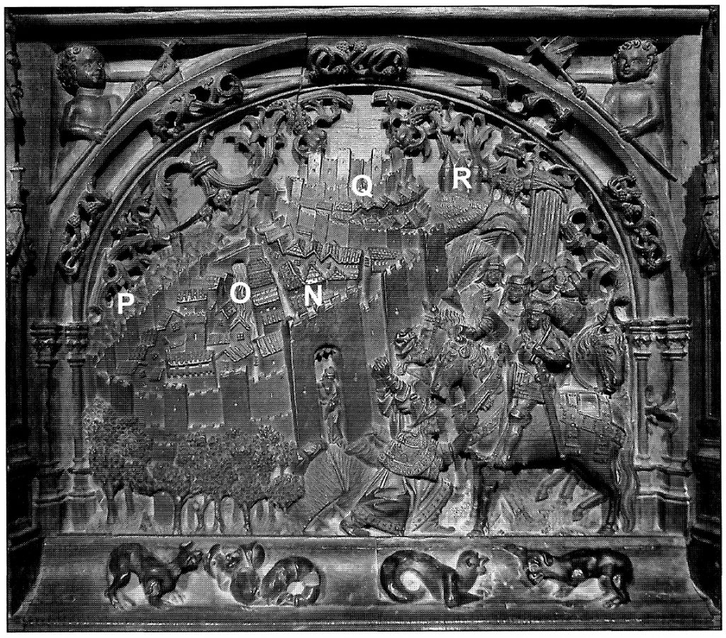Figura 2. Tablero de la sillería del coro bajo de la Catedral de Toledo donde se representa la rendición de Granada. García Pulido y col. (2004)