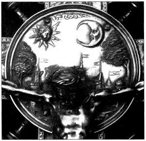 Figura 2. Cruz de plata repujada conservada en la Iglesia Parroquial de Santa Fe. Detalle de la ciudad representada detrás del crucificado. García Pulido y col. (2004).