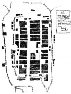 Figura 7. Plano de Santa Fe de Francisco Quintillán (1780). Este plano formó parte del proyecto que Domingo A. Lois Monteagudo realizó en 1777 para el desagüe y saneamiento de la cava norte. García Pulido y col. (2004)