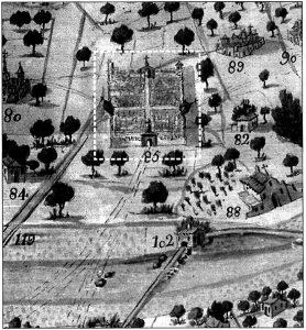 Figura 5. Plano del diseño del Río Genil dibujado por Thomas Ferrer y rotulado por José Toxar (1751). Detalle de la representación de Santa Fe vista desde el norte. Reeditado por el Ayuntamiento de Granada, 2000. García Pulido y col. (2004).