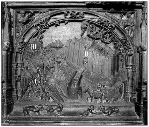 Figura 1. Tablero de la sillería del coro bajo de la Catedral de Toledo donde se representa el Real de la Vega (I), el Real de Santa Fe (II) y la ciudad de Granada (III). García Pulido y col. (2004).