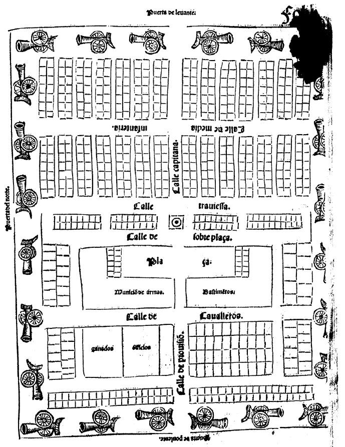 """Figura 1. Croquis del tipo de Real utilizado por el Gran Capitán en sus campañas de Nápoles recogido en el """"Tratado de Re Militari"""" de Diego de Salazar (1536), folio 52r. García Pulido y col. (2005)"""