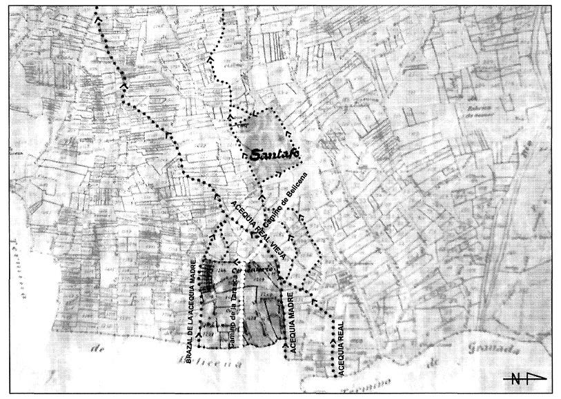 Figura 2. Detalle del plano parcelario del término de Santa Fe, de 1906, sobre el que se ha indicado el sistema de acequias que suministraban agua a los Reales de la Vega y de Santa Fe. García Pulido y col. (2005)