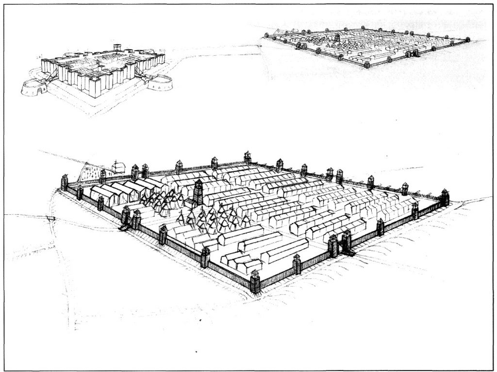 Figura 1. Perspectiva aérea esquematizada con el trazado y la disposición hipotética de los Reales de Santa Fe (arriba a la izquierda) y el de la Vega (arriba a la derecha). Detalle del Real de la Vega (abajo). García Pulido y col. (2005)