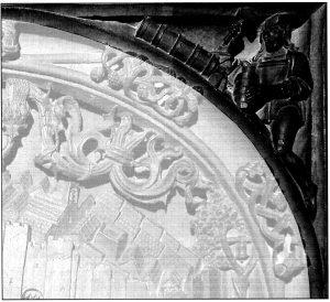 Figura 3. Detalle de la enjuta derecha del tablero de la sillería del coro bajo de la Catedral de Toledo en el que se representó Santa Fe. García Pulido y col. (2004)