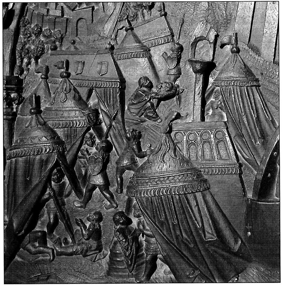 Figura 4. Detalle del Real de la Vega en el tablero de la sillería del coro bajo de la Catedral de Toledo en el que se representó Santa Fe. García Pulido y col. (2004)