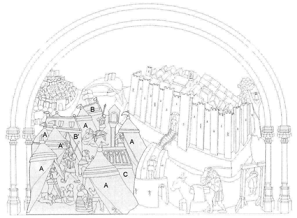 Figura 5. El Real de la Vega en el tablero de la sillería del coro bajo de la Catedral de Toledo en el que se representó Santa Fe, redibujado por don Luis José García Pulido y don Antonio Orihuela Uzal. García Pulido y col. (2004)