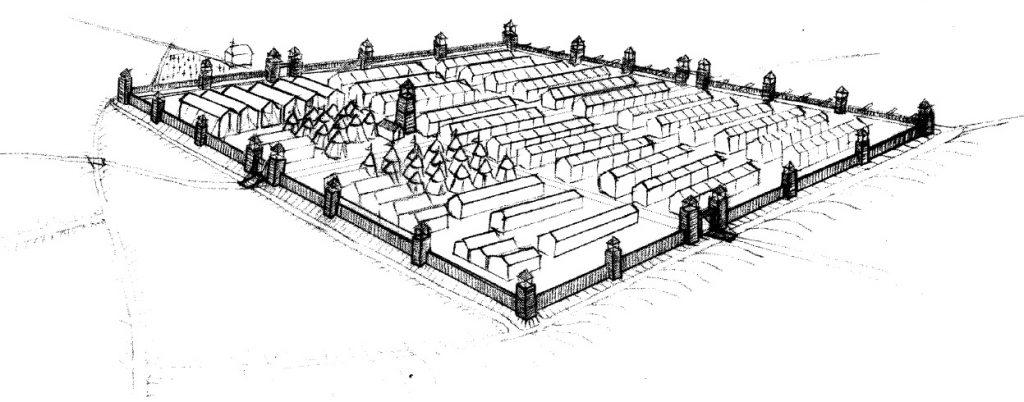 Figura 1. Perspectiva aérea esquematizada con el trazado y la disposición hipotética del Real de la Vega. García Pulido y col. (2005)