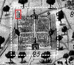 Figura 5. Detalle de la representación de Santa Fe en el plano del diseño del Río Genil dibujado por Thomas Ferrer (1751). Reeditado por el Ayuntamiento de Granada en el año 2000. Se ha enmarcado con línea roja la Torre de Santiago. García Pulido y col. (2005)