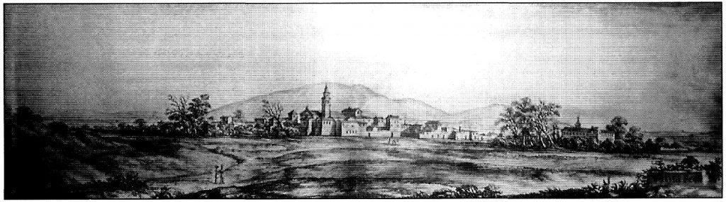 """Figura 4. Vista de Santa Fe desde el suroeste dibujada por Pier María Baldi en 1669 que ilustra el libro de Cosme de Médicis, """"Viaje por España y Portugal (1668-1669)"""". García Pulido y col. (2004)"""