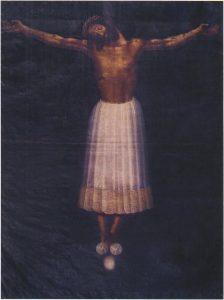 Figura 2. Cristo de Cabrilla o de Burgos (similar al que se veneró en la primitiva Iglesia del Convento de Agustinos Recoletos de Santa Fe). Convento de Santa Catalina de Zafra (Granada). Martínez Medina y col. (2009)