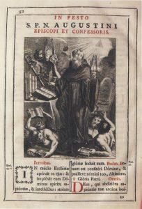 """Figura 4. """"San Agustín"""", Joaquín Ballester, grabador. Misal propio de la Orden Agustina que perteneció al Convento de Santa Fe, impreso en Madrid en 1789. Martínez Medina y col. (2009)"""