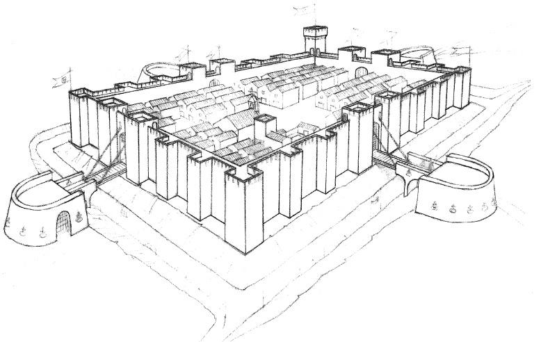 Figura 5. Perspectiva aérea idealizada con el sistema defensivo y la disposición del Real de Santa Fe. García Pulido y col. (2005)