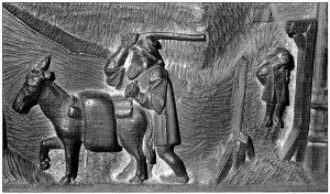 Figura 7. Detalle de musulmanes en el tablero de la sillería del coro bajo de la Catedral de Toledo en el que se representó Santa Fe. El de la izquierda conduce un burro cargado con alforjas y el de la derecha está ajusticiado en una horca. García Pulido y col. (2004)