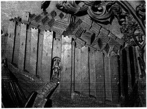 Figura 2. Detalle del Real de Santa Fe en el tablero de la sillería del coro bajo de la Catedral de Toledo en el que se representó Santa Fe. García Pulido y col. (2004)