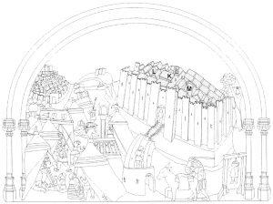 Figura 4. La ciudad-campamento del Real de Santa Fe en el tablero de la sillería del coro bajo de la Catedral de Toledo en el que se representó Santa Fe, redibujado por don Luis José García Pulido y don Antonio Orihuela Uzal. García Pulido y col. (2004)