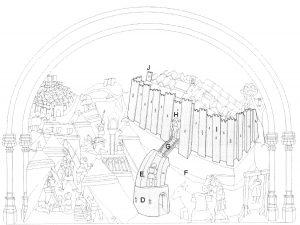 Figura 3. Las murallas y el sistema defensivo del Real de Santa Fe en el tablero de la sillería del coro bajo de la Catedral de Toledo en el que se representó Santa Fe, redibujado por don Luis José García Pulido y don Antonio Orihuela Uzal. García Pulido y col. (2004)