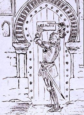 Figura 1. Hernán Pérez del Pulgar ante la mezquita de Granada, colgando su declaración. (http://www.traditioninaction.org/religious/h013rp.PerezDelPulgar.html)