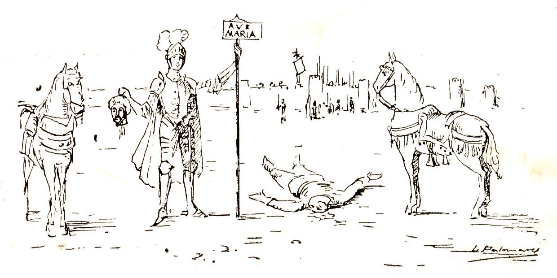Figura 2. Viñetas del lance entre el Moro Tarfe y Garcilaso de la Vega. García Ortiz de Villajos (1929)