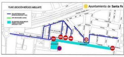 Plano de la ubicación del mercado ambulante